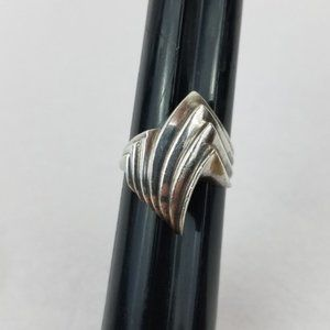 Vintage Modernist Fancy Sterling SILVER Dome Ring